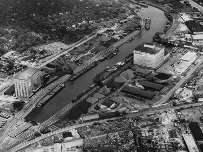 Luftbild vom Lindener Hafen aus dem Jahr 1953