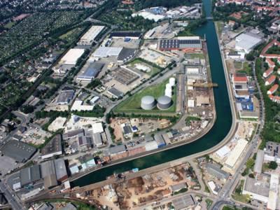 Luftbild vom Lindener Hafen aus dem Jahr 2008