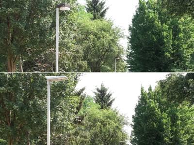 Die Straßenbeleuchtung in der Voltmerstraße  – vorher (oben), nachher (unten)