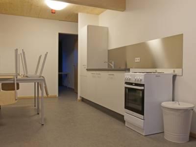 Küchenzeile und ein Tier mit vier Stühlen.