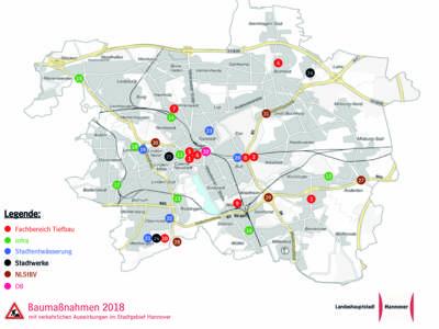 Eine Karte, die Baustellen im Stadtgebiet zeigt.