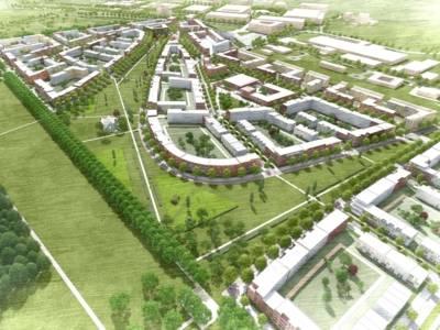 Visualisierung eines Wohngebiets.