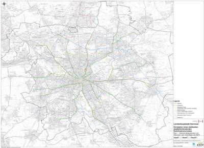 Karte vom Stadtgebiet Hannover mit eingezeichneten Velorouten.
