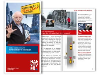 """Erwin Schütterle vom Freundeskreis Hannover weist in der Broschüre """"Mobil bleiben im Alter - Mit Sicherheit in Hannover"""" auf die Einhaltung von Verkehrsregeln hin"""