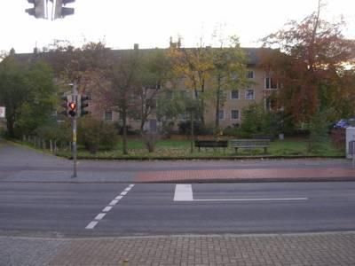 Straßenansicht, dahinter Grünfläche und Wohnhäuser