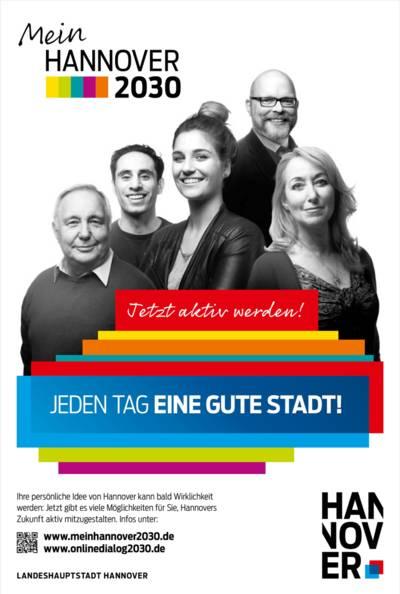 """Plakat mit """"Mein Hannover 2030""""-Logo und einer Collage aus fünf Porträt-Fotos"""