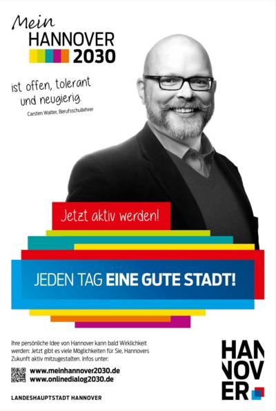 Plakat mit Schwarz-Weiß-Porträt von Carsten Walter