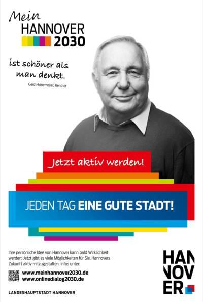 Plakat mit Porträt-Foto von Gerd Heinemeyer