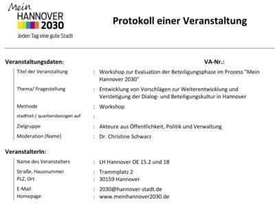 Deckblatt des Protokolls