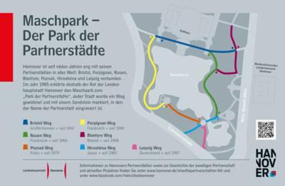 Infotafel zum Park der Partnerstädte