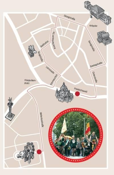 Straßenkarte in Comic-Optik.