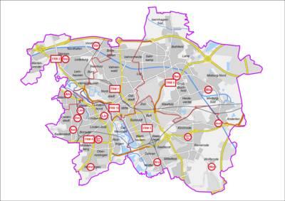 Umgebungskarte Landeshauptstadt Hannover, Feuer- und Rettungswachen und Feuerwehrhäuser der Freiwilligen Feuerwehr mit Wachbezirksgrenzen