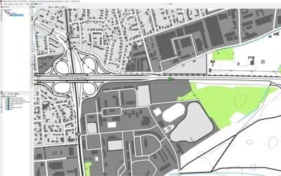 Darstellung der Unfallstelle in der Karte des Einsatzleitrechners
