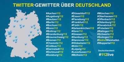 41 Berufsfeuerwehren beteiligen sich am Twittergewitter. Die Feuerwehr Hannover ist unter #hannover112 mit dabei.