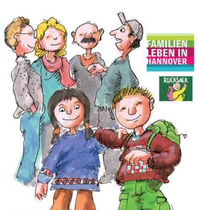 Zeichnung von vier Erwachsenen im Gespräch, davor zwei Schulkinder, eines davon trägt einen Rucksack.f