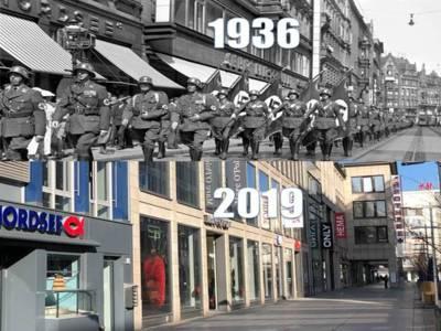 Montage aus zwei Bildern des selben Ortes: In der oberen Hälfte ist ein Schwarz-Weiß-Bild von einem Zug Soldaten, die mit Hakenkreuz-Fahnen und -Armbinden durch die Karmaschstraße in Hannover marschieren.