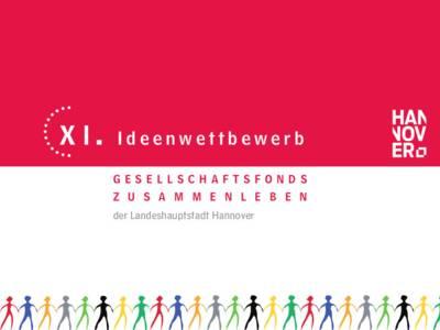 """Zweifarbiger Schriftzug: """"11. Ideenwettbewerb des Gesellschaftsfonds Zusammenleben der Landeshauptstadt Hannover"""""""