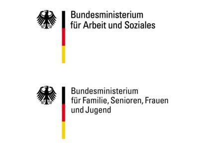 Die beiden Logos des Bundesministeriums für Arbeit und Soziales und des Ministeriums für Familie, Senioren, Frauen und Jugend