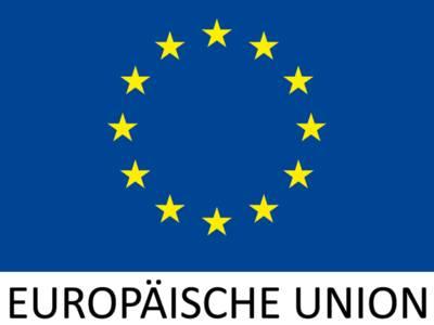 """Die Flagge der europäischen Union mit zwölf Sternen im Kreis und dem Schriftzug """"Europäische Union"""" ,"""
