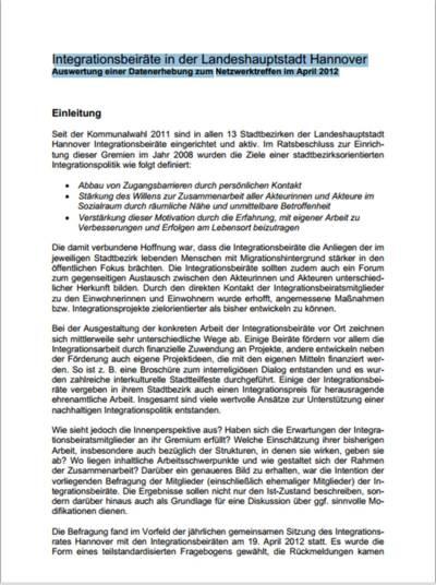 Screenshot Auswertungsbericht Integrationsbeiräte