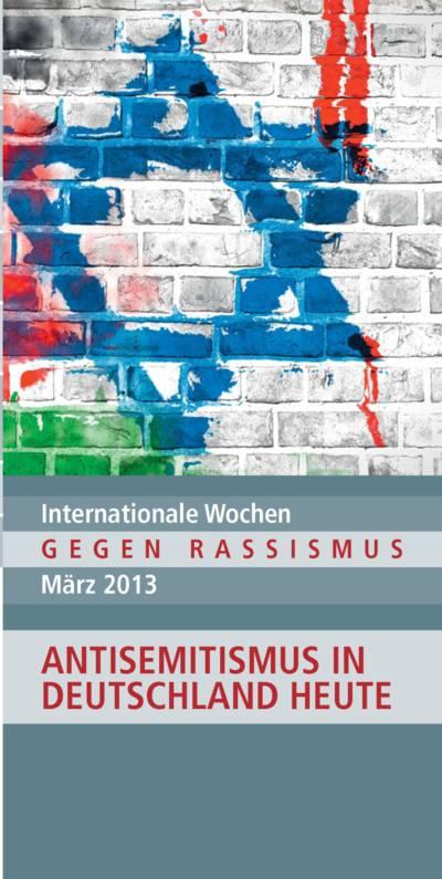 Deckblatt des Flyers Antirassismus-Wochen, zeigt u.a. einen gemalten blauen Davidstern auf einer Steinwand