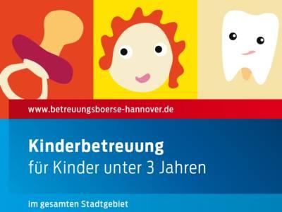 """Die Symbole Schnuller, Kindergesicht und Gesundheit mit der Bildunterschrift """"Kinderbetreuung für Kinder unter 3 Jahren im gesamten Stadtgebiet"""""""