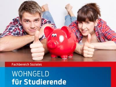 """Ausschnitt aus dem Titelbild des Flyers """"Wohngeld für Studierende"""": zwei junge Leute liegen auf dem Boden und halten den Daumen anerkennend nach oben, dazwischen steht ein rotes Sparschwein."""