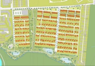 Aktueller Bebauungsplan des zero:e parks mit drei Bauabschnitten und der Grünplanung