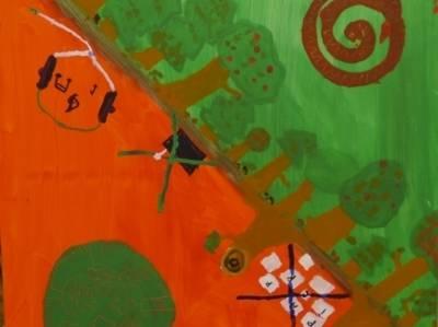 Das Bild der Schülerinnen und Schüler zum Thema Naturwälder ist diagonal unterteilt und zeigt auf einer Seite viele Bäumen und auf der anderen Seite eine abgeholzte Fläche.