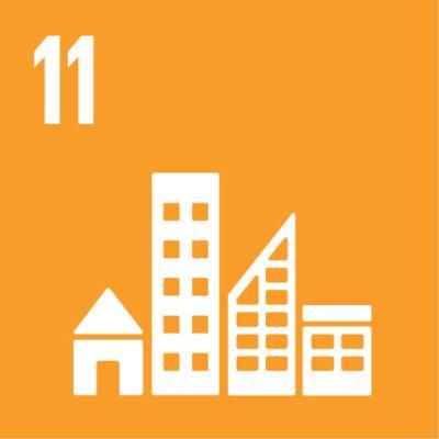 """Symbol für globales Nachhaltigkeitsziel Nr. 11 """"Nachhaltige Städte und Gemeinden"""""""