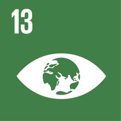 """Symbol für globales Nachhaltigkeitsziel Nr. 13  """"Maßnahmen zum Klimaschutz"""""""