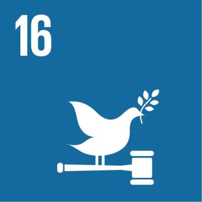 """Symbol für globales Nachhaltigkeitsziel Nr. 16  """"Frieden und Gerechtigkeit"""""""