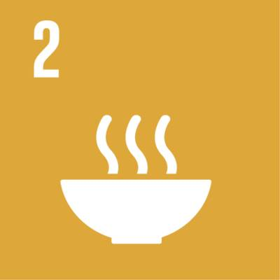 """Symbol für globales Nachhaltigkeitsziel Nr. 2 """"Ernährung sichern"""""""
