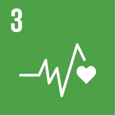 """Symbol für globales Nachhaltigkeitsziel Nr. 3 """"Gute Gesundheitsversorgung"""""""
