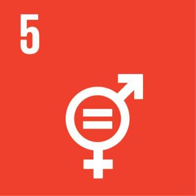 """Symbol für globales Nachhaltigkeitsziel Nr. 5 """"Gleichberechtigung der Geschlechter"""""""