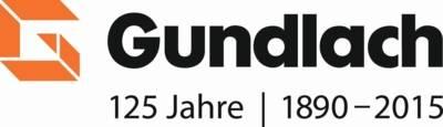 Orangfarbenes geteiltes Großbuchstabe G, Text Gundlach, 125 Jahre, 1890-2015