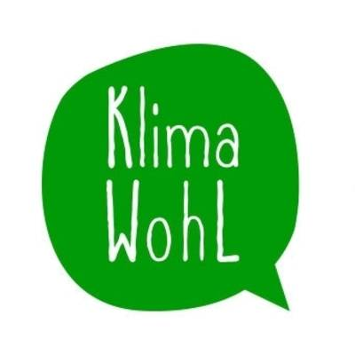 Grüne Sprechblase mit weißem Schriftzug Klimawohl
