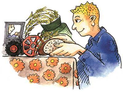 Zeichnung, die versinnbildlicht, wie aus dem Getreide, das der Bauer erntet, Brot für den Verbraucher entsteht