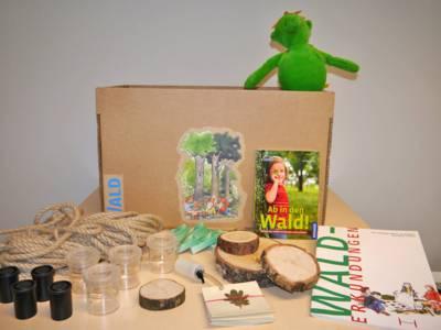 Aktivkiste Wald mit Broschüren, Baumstammscheiben, Bodenproben, Blätter-Karten und Seil sowie Stoffpuppe, die auf einem Tisch präsentiert werden