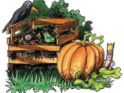 Zeichnung eines Raben, der am Rande eines Komposthaufens sitzt, daneben ein großer Kürbis