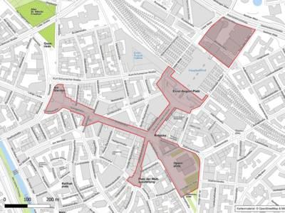 Karte, die den Teil eines Stadtgebiets zeigt.