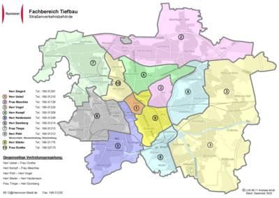 Stadtkarte Hannovers, auf der Bezirke in unterschiedlichen Farben dargestellt sind, um die verschiedenen Zuständigkeiten innerhalb der Straßenverkehrsbehörde zu symbolisieren.