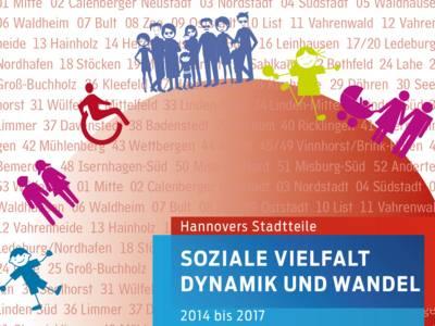 """Teilansicht des Deckblatts der Broschüre """"Soziale Vielfalt, Dynamik und Wandel"""" - Hannovers Stadtteile von 2014 bis 2017, auf der zahlreiche als Strichmännchen stilisierte Figuren zu erkennen sind."""