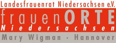 Frauenorte-Logo des Landesfrauenrates Niedersachsen mit der Aufschrift Mary Wigman - Hannover