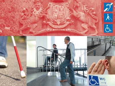 Collage mit Motiven, die auf bauliche Verbesserungen für Menschen mit Behinderung hinweisen, z. B. Rollstuhlrampe oder akustische Signale