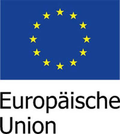 EU Logo mit den im Kreis angeordneten gelben Sternen auf blauem Hintergrund