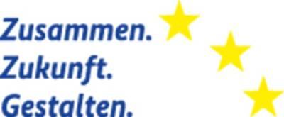 """Das Logo zeigt die Worte """"Zusammen.Zukunft.Gestalten"""" sowie drei gelbe Sterne am rechten oberen Rand"""
