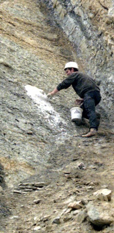 Mann mit Helm füllt einen Abdruck im Gestein mit einer Gipsmasse.