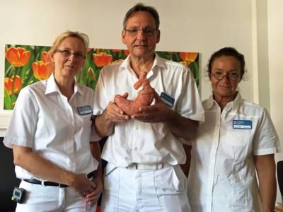 Zwei Ärztinnen und ein Arzt mit dem Modell eines Magens.