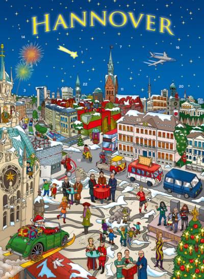 Zeichnung der verschneiten hannoverschen Altstadt mit diversen Prominenten
